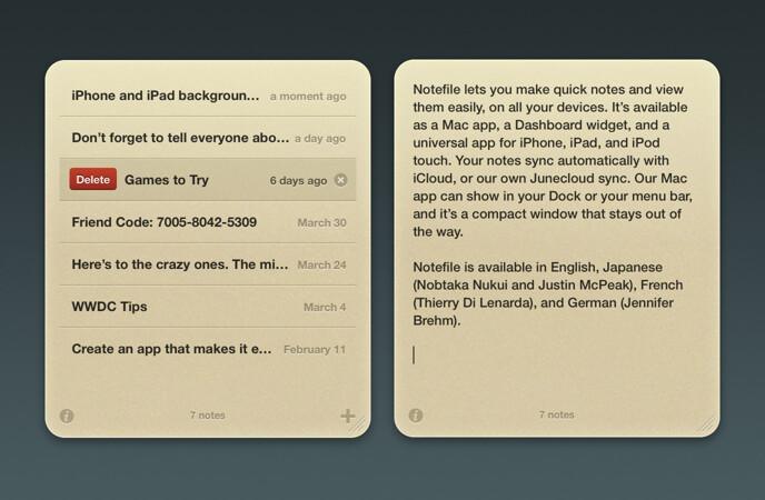 Notefile 1.6.2 Dashboard Widget screenshot
