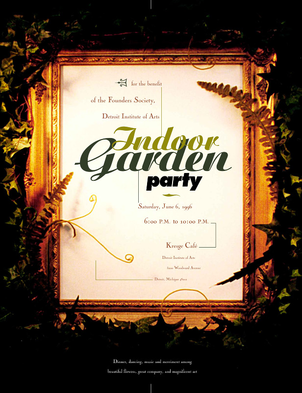 indoor garden party graphic design