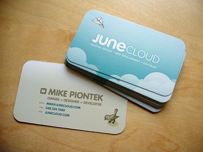 Business cards design junecloud we make apps for iphone ipad mac and web reheart