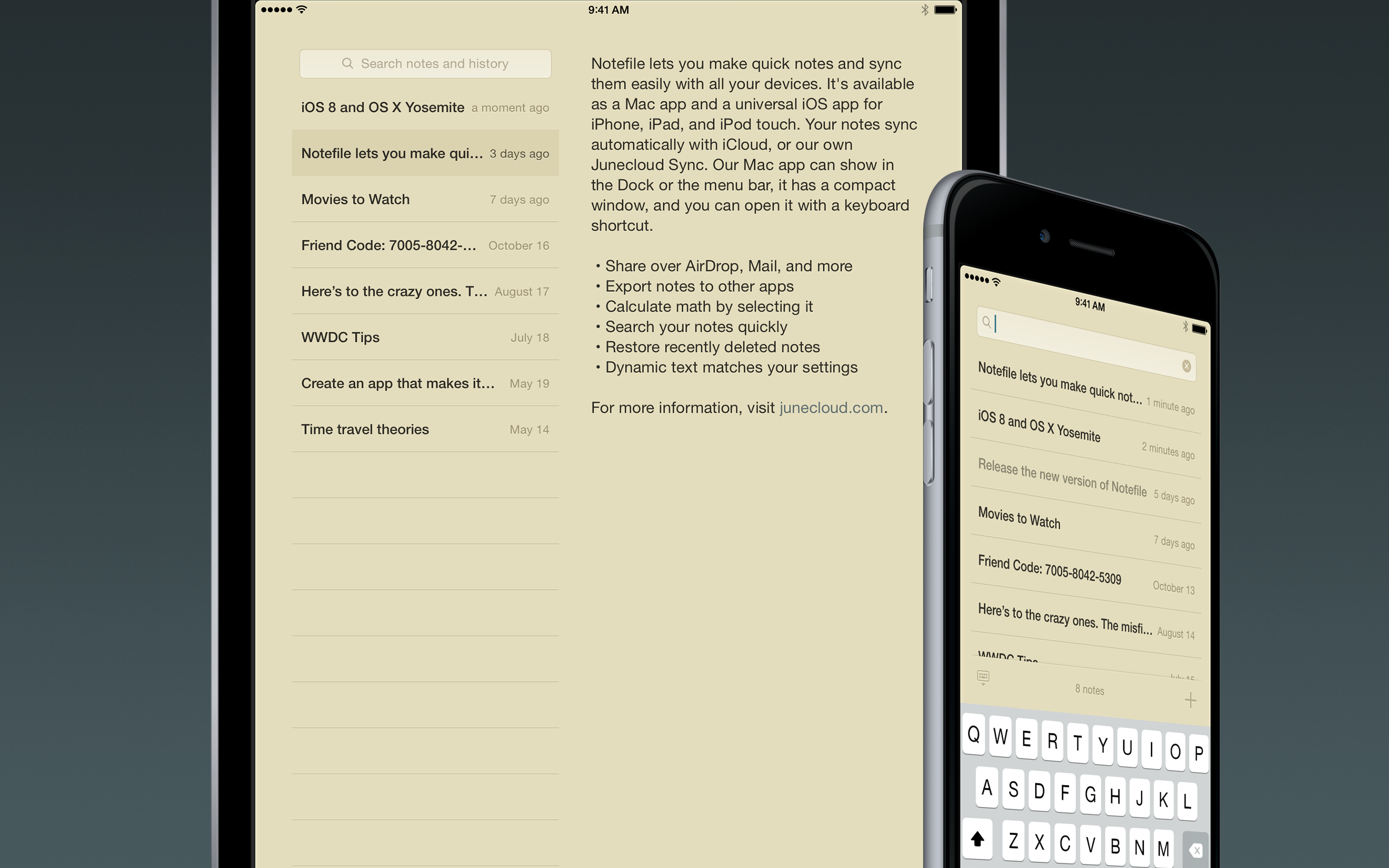 Notefile 2 7 4 for iOS ~ iPhone and iPad ~ Junecloud