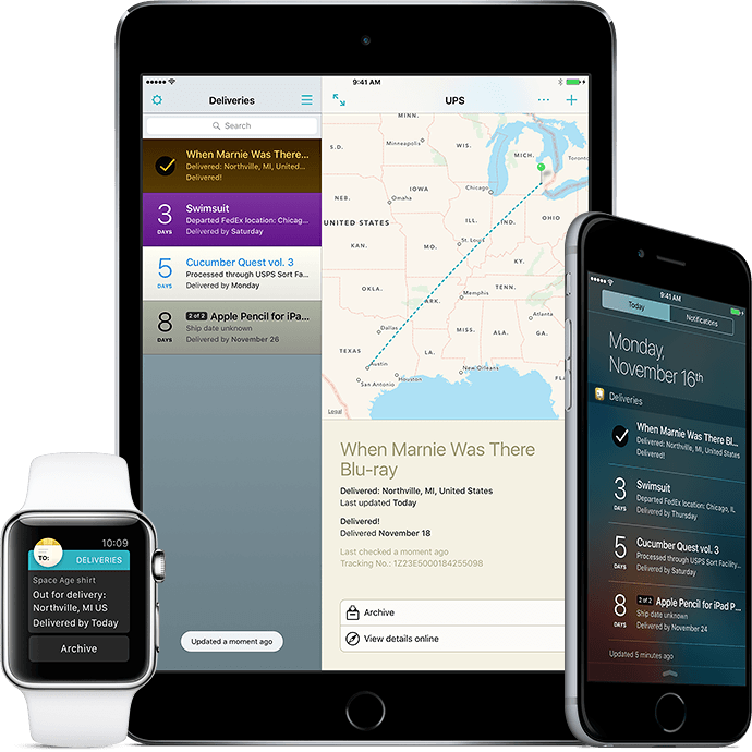 Deliveries for iPhone, iPad, and Apple Watch